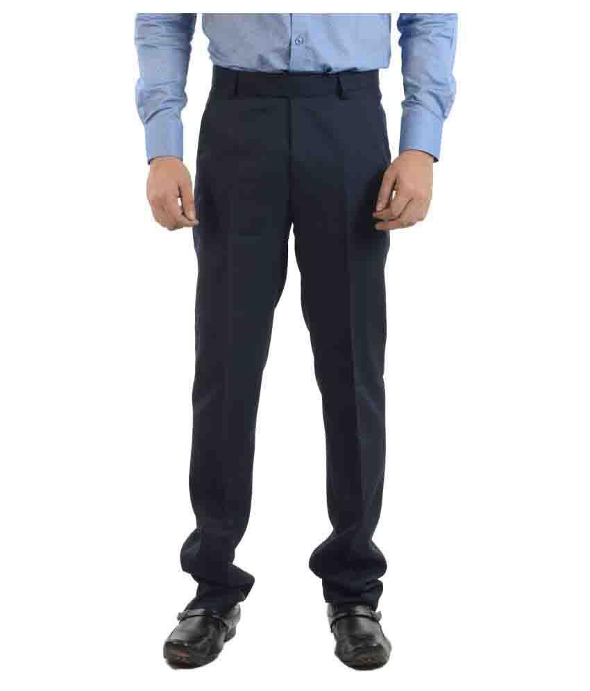 Sheriff Navy Blue Slim -Fit Flat Trousers