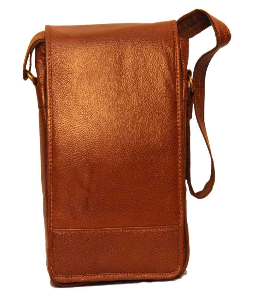 ALB Brown Leather Office Messenger Bag