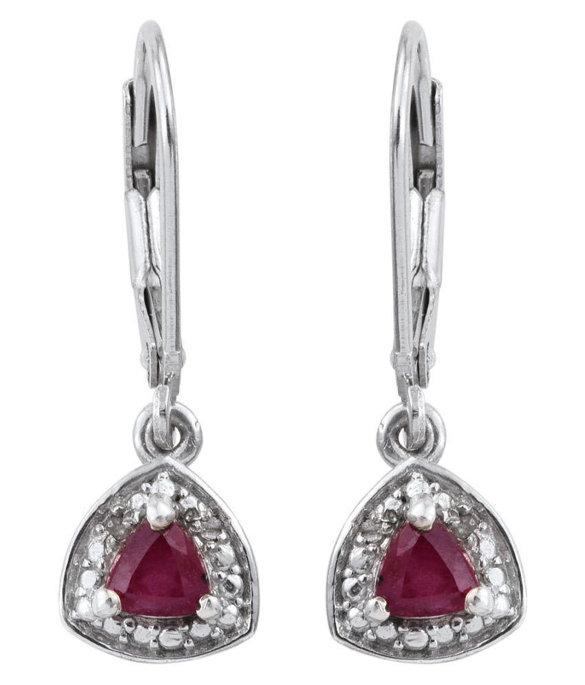 Vaibhav 92.5 Silver Ruby Drop Earrings