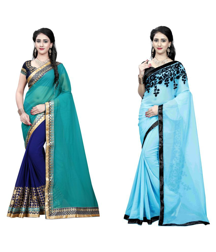 Dharma Products Multicoloured Georgette Saree Combos