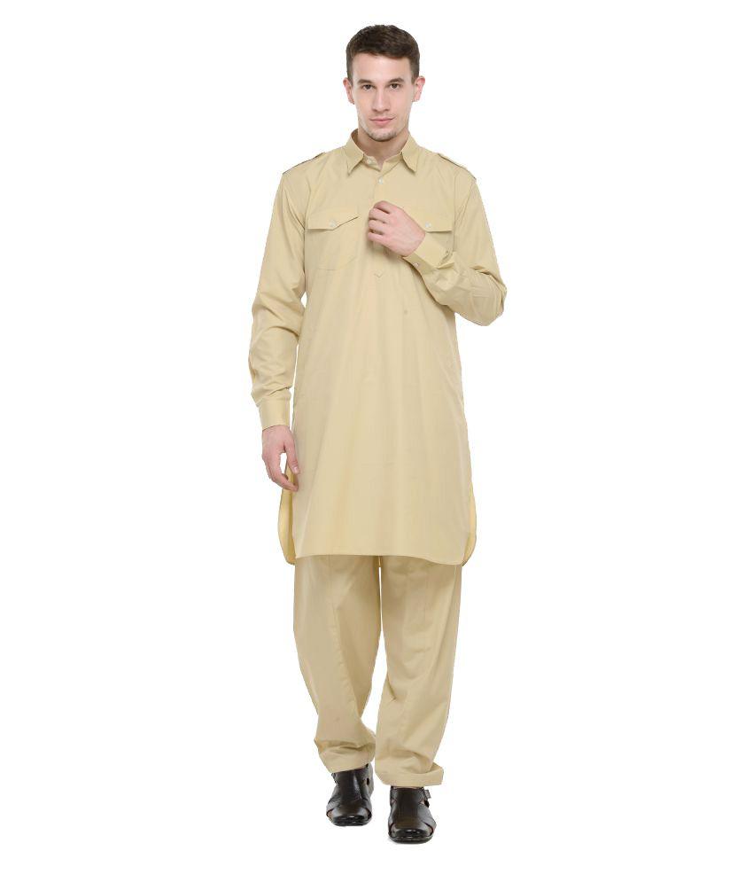 RG Designers Khaki Cotton Pathani Suit