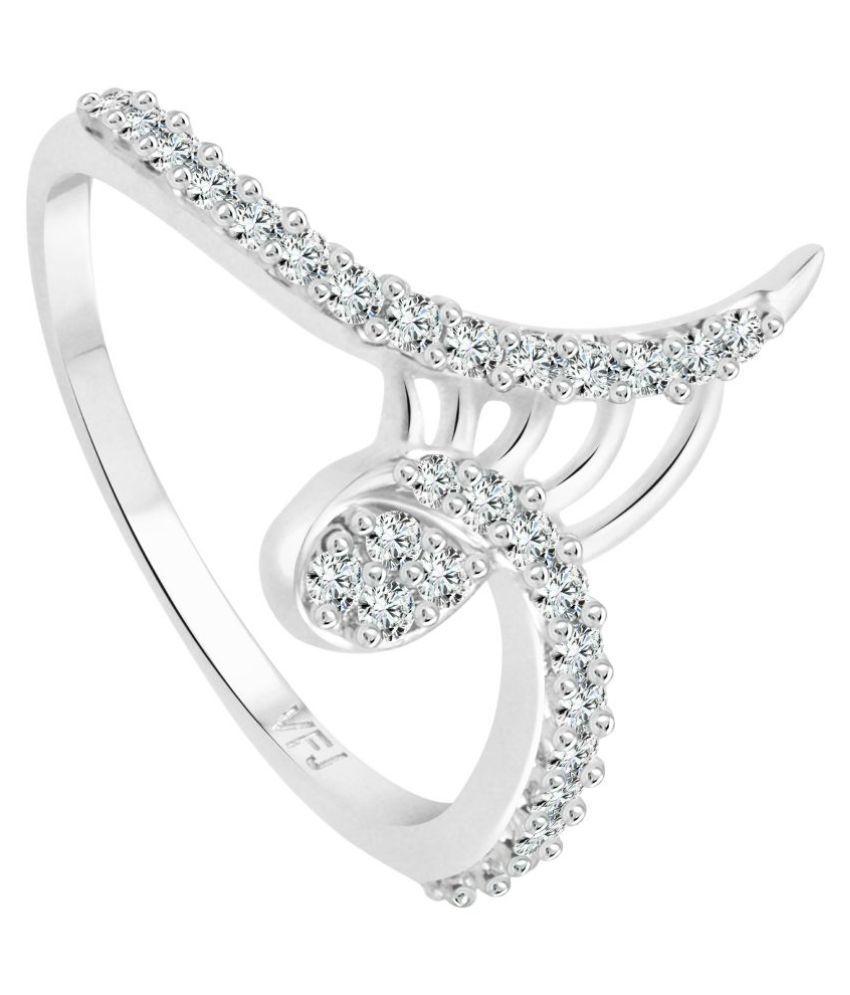 Vighnaharta Designer Finger CZ Rhodium Plated Alloy Ring for Women and Girls - [VFJ1242FRR9]