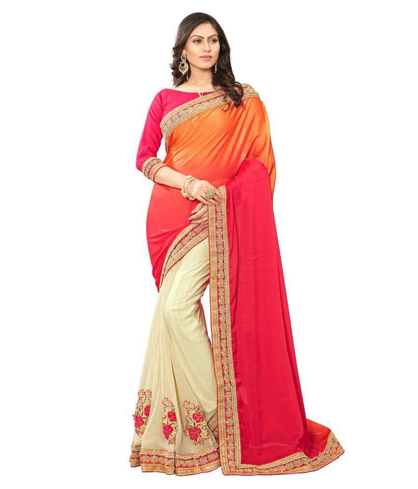 Panash Trends Multicoloured Satin Saree