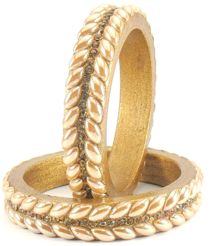 Sukriti Rajasthani Golden Lac Bangles for Women - Set of 2