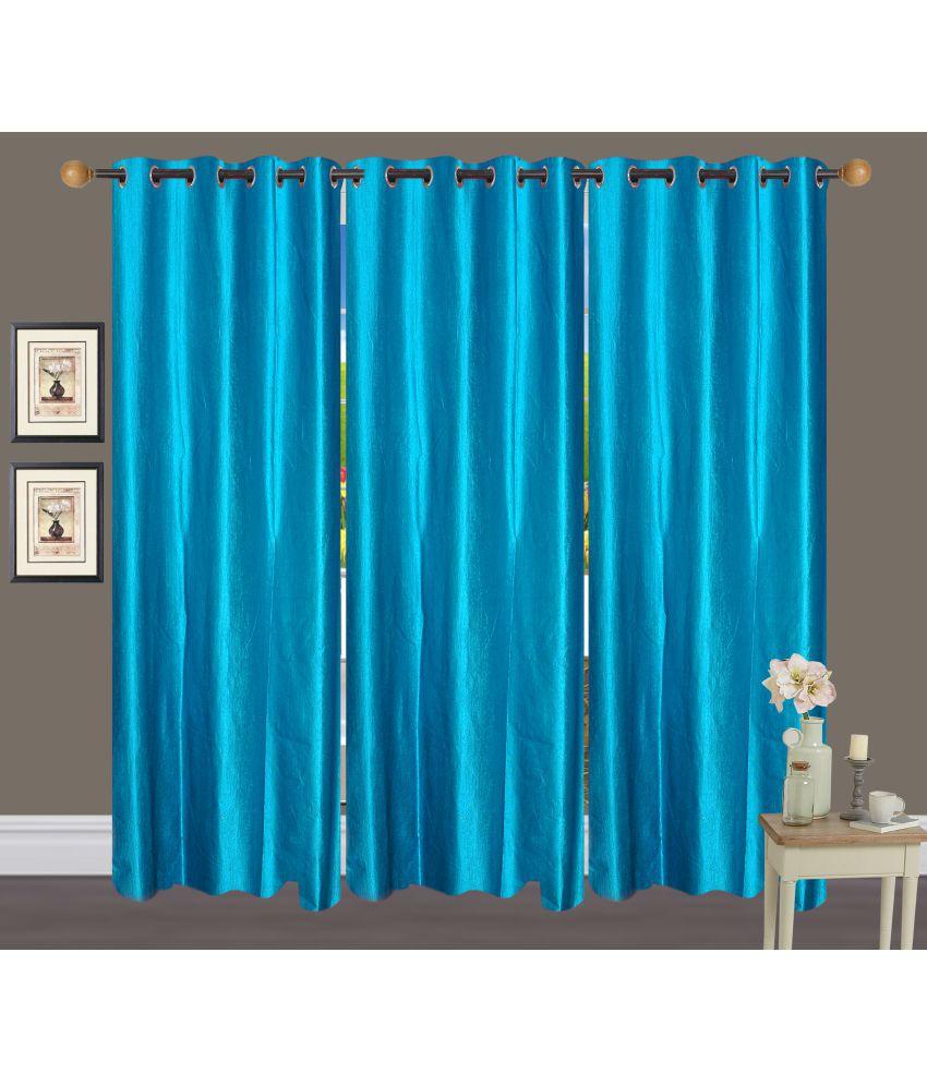 Akshaan Texo Fab Set of 3 Window Eyelet Curtains Plain Blue