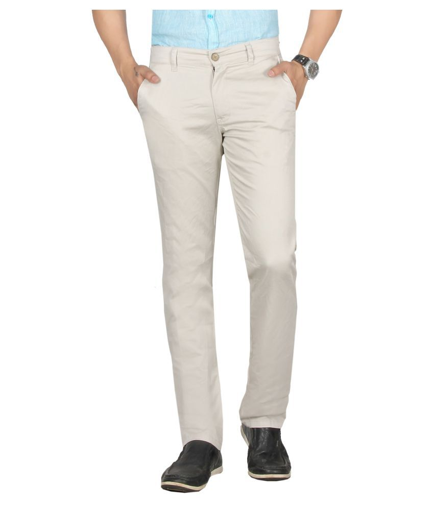 Dare Beige Regular -Fit Flat Trousers