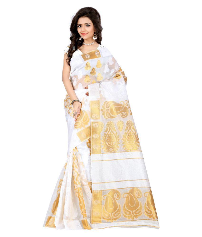 Saloni Designer White Kanchipuram Saree