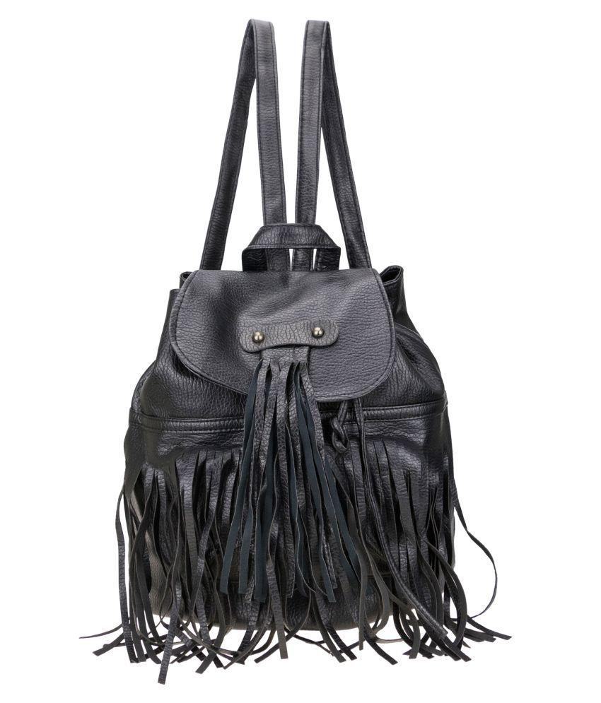 Genious Black P.U. Backpack