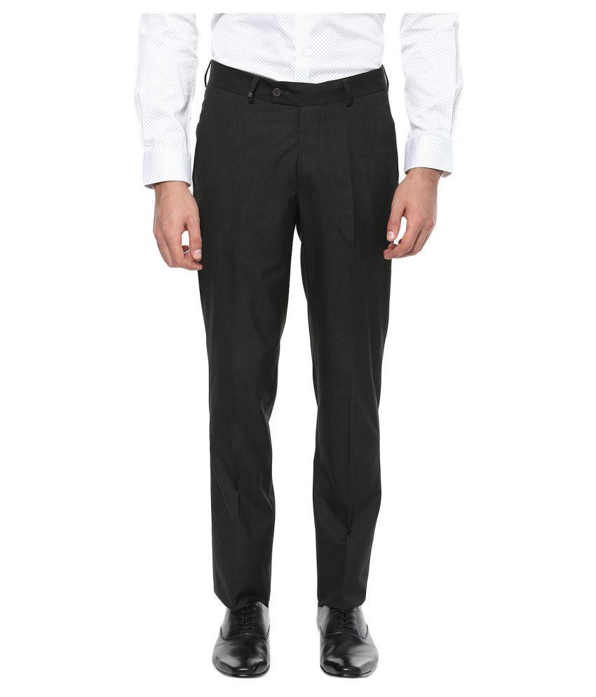London Bridge Black Slim -Fit Flat Trousers