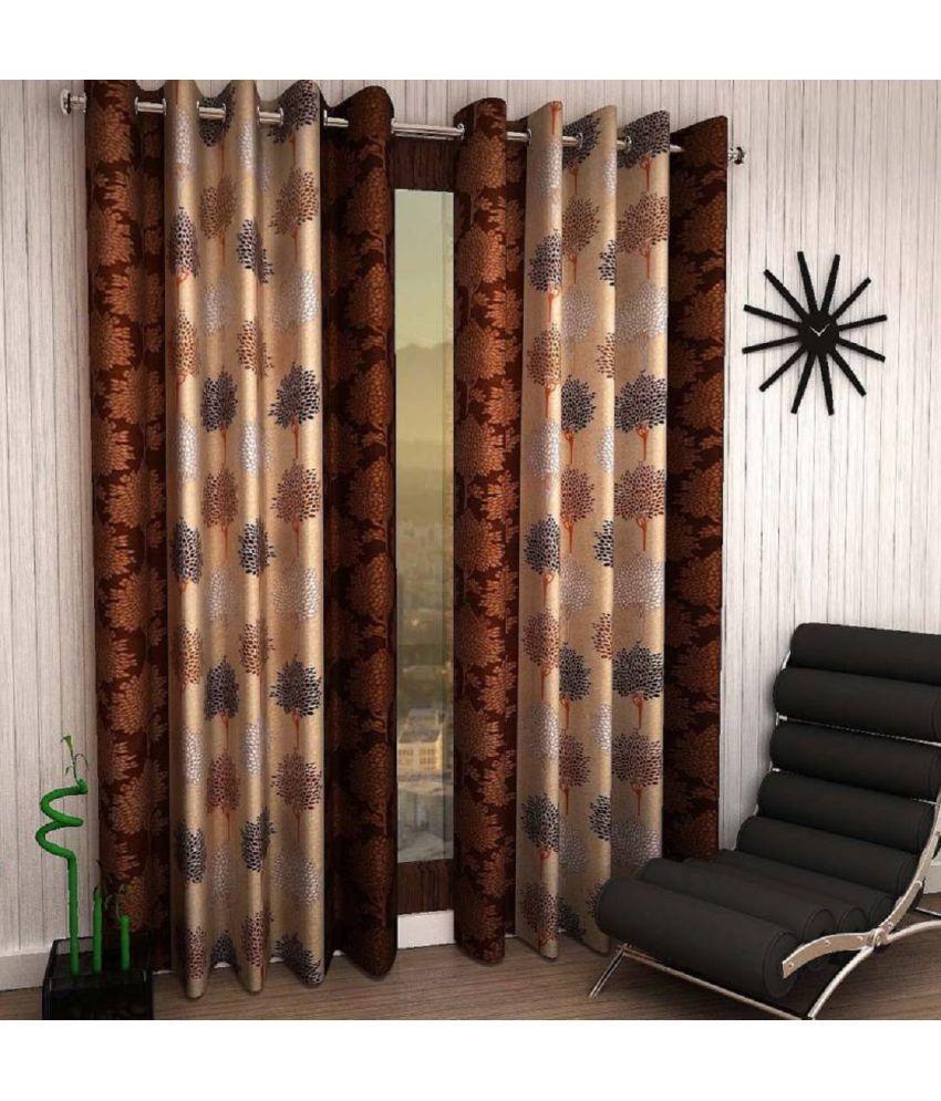 Tanishka Fabs Set of 2 Door Eyelet Curtains Multi Color