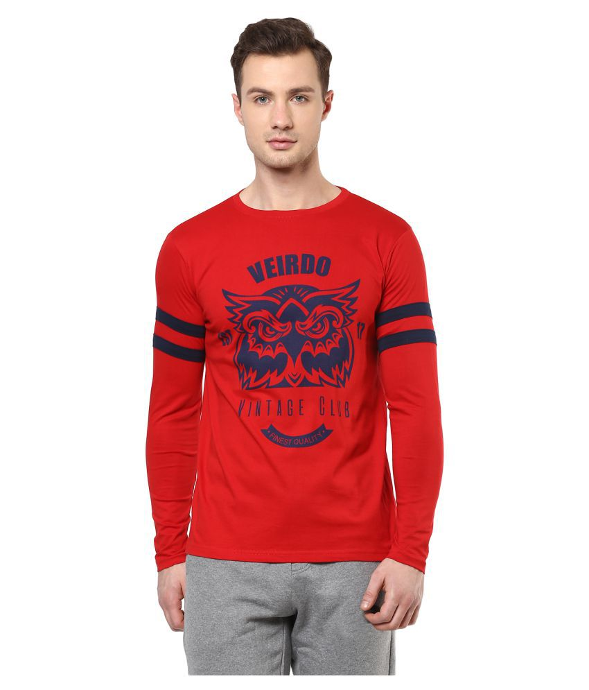 Veirdo Red Round T-Shirt