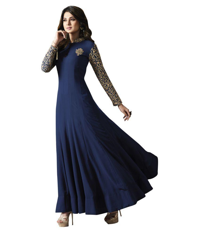 5b9acaf5aacf YOYO Fashion Blue Georgette Anarkali Semi-Stitched Suit - Buy YOYO ...