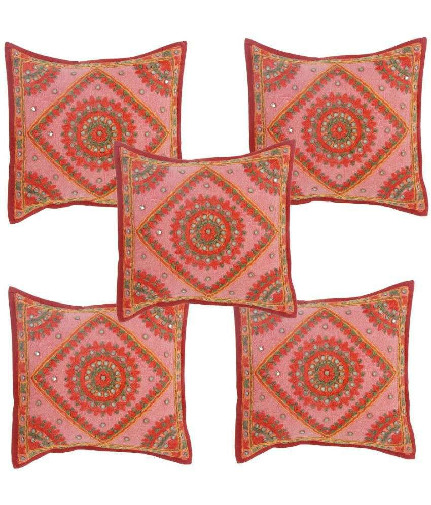 Jaipur Textile Hub Set of 5 Cotton Cushion Covers 40X40 cm (16X16)