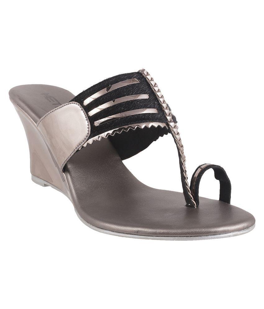 METRO BLACK Wedges Ethnic Footwear
