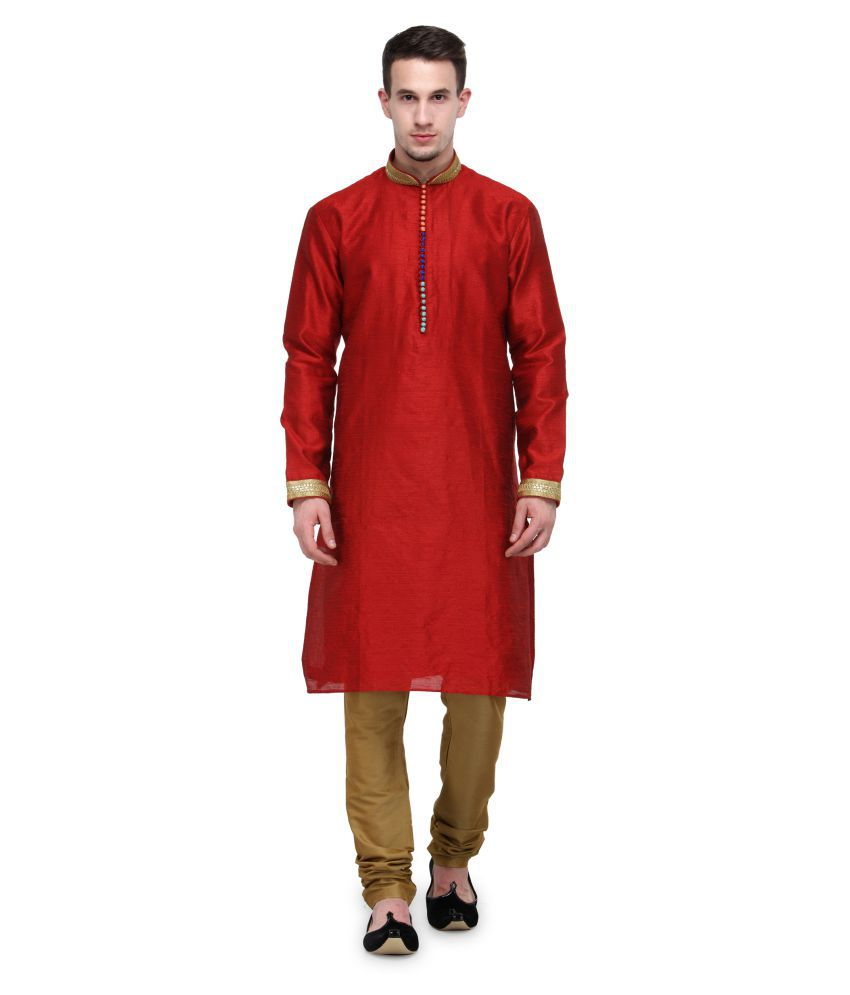 RG Designers Red Silk Blend Kurta Pyjama Set