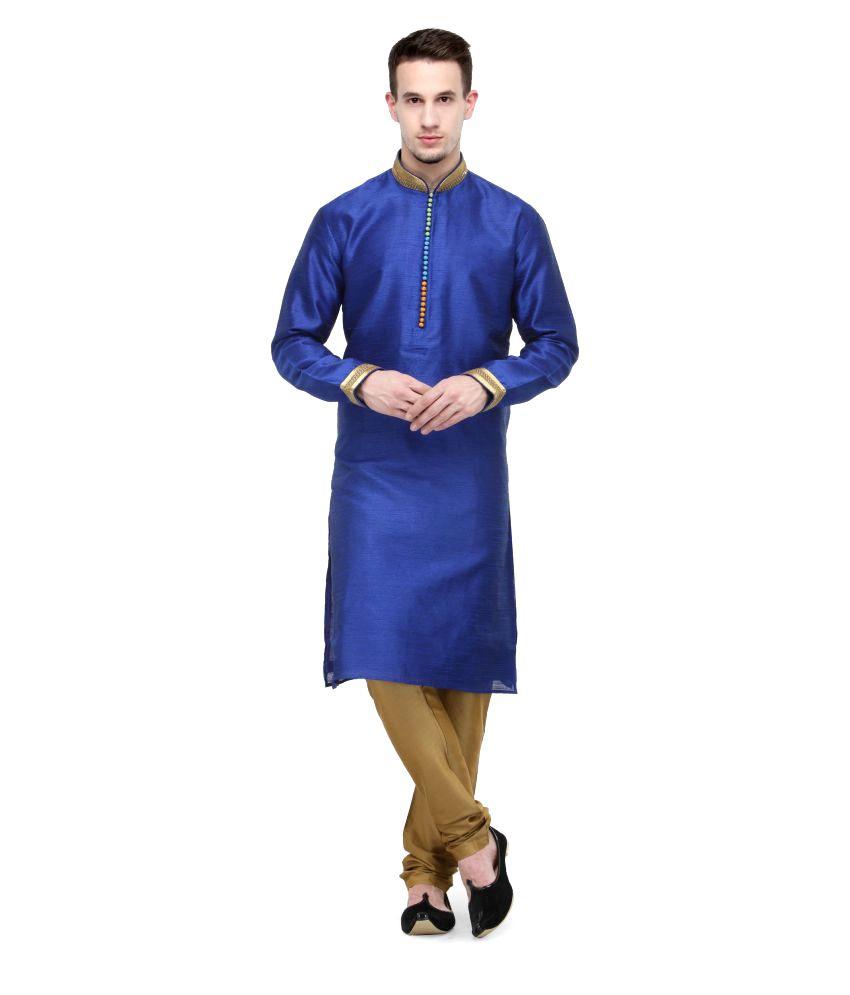 RG Designers Blue Silk Blend Kurta Pyjama Set