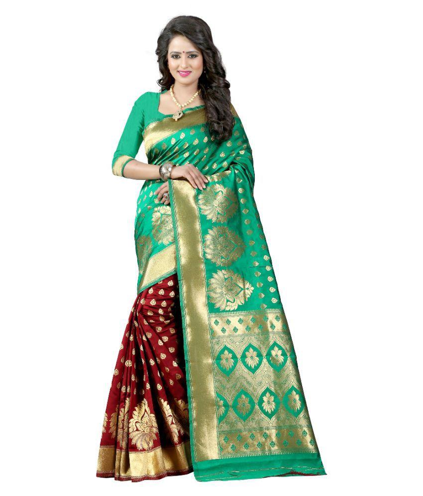 The Mammoth Store Green and Beige Banarasi Silk Saree