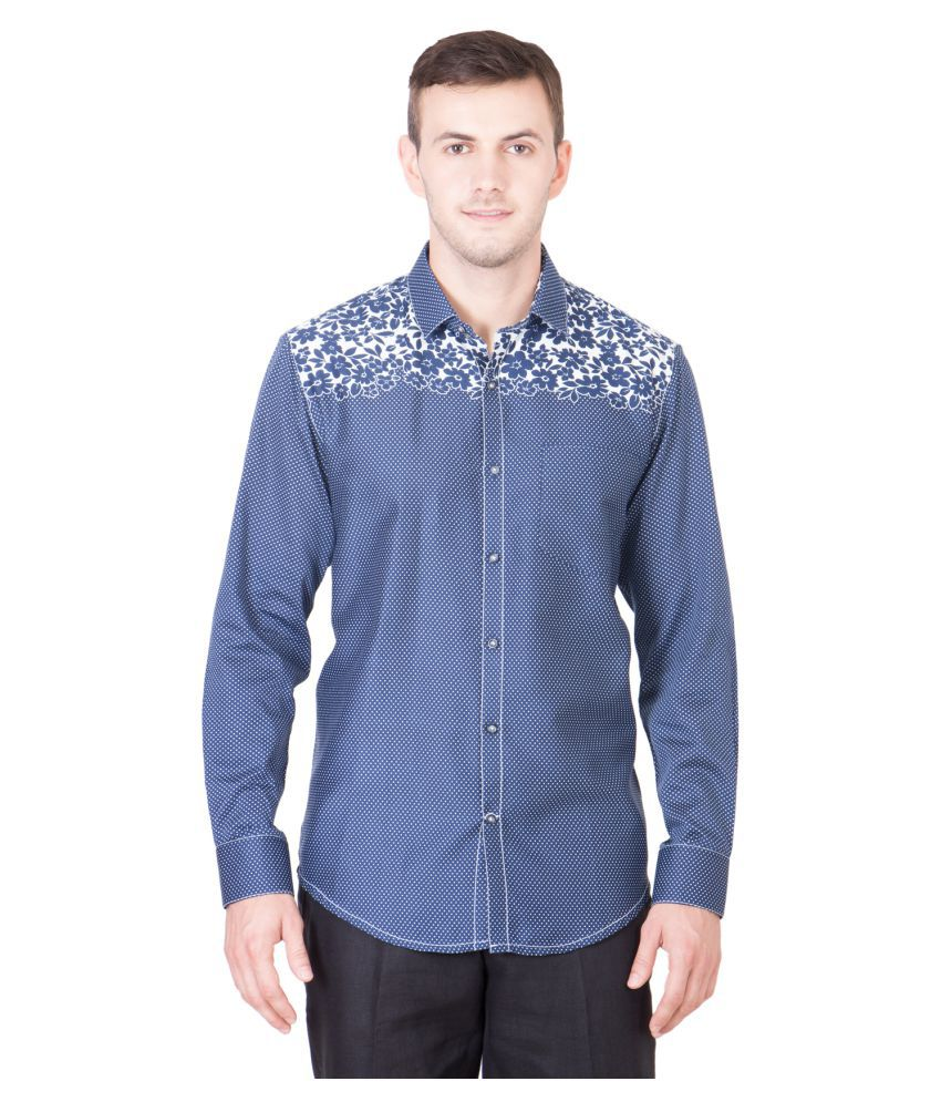 Desam Blue Casual Slim Fit Shirt