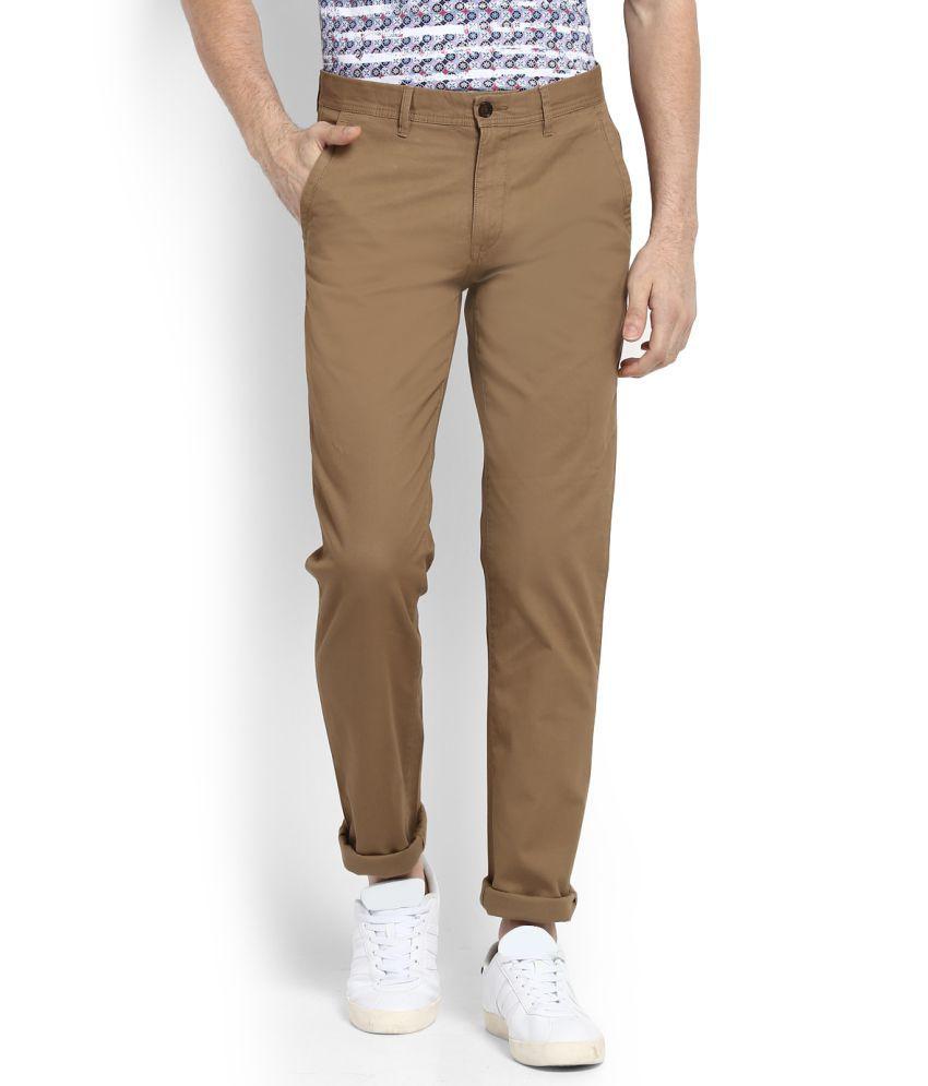 Arrow Sports Khaki Regular -Fit Flat Chinos