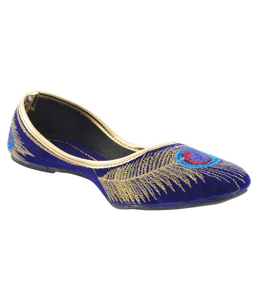 Royaal Blue Flat Ethnic Footwear