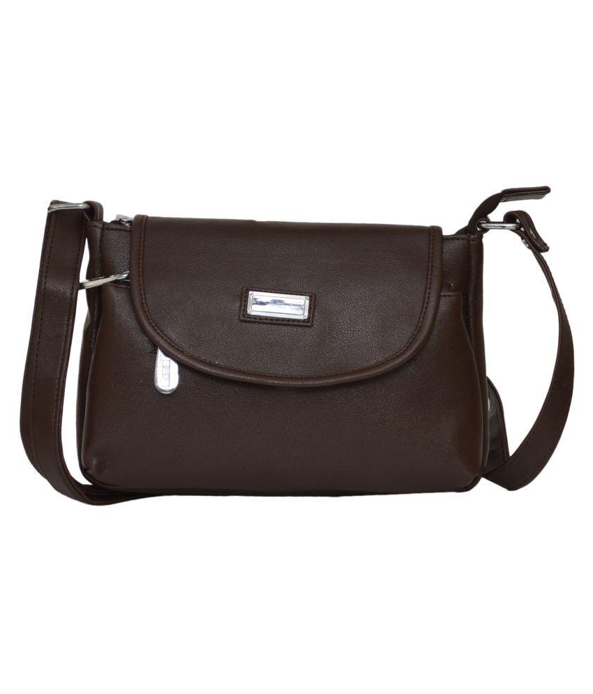 FD Fashion Brown P.U. Sling Bag