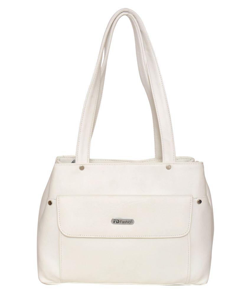 FD Fashion White P.U. Shoulder Bag