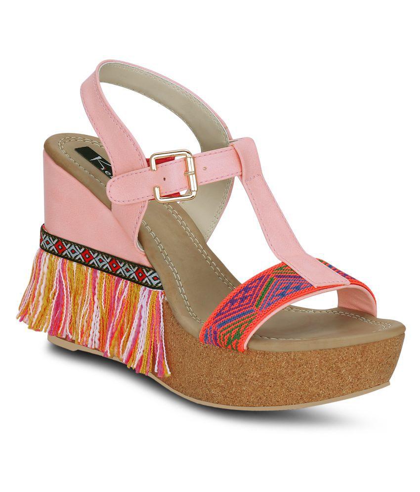 Kielz Pink Wedges Heels