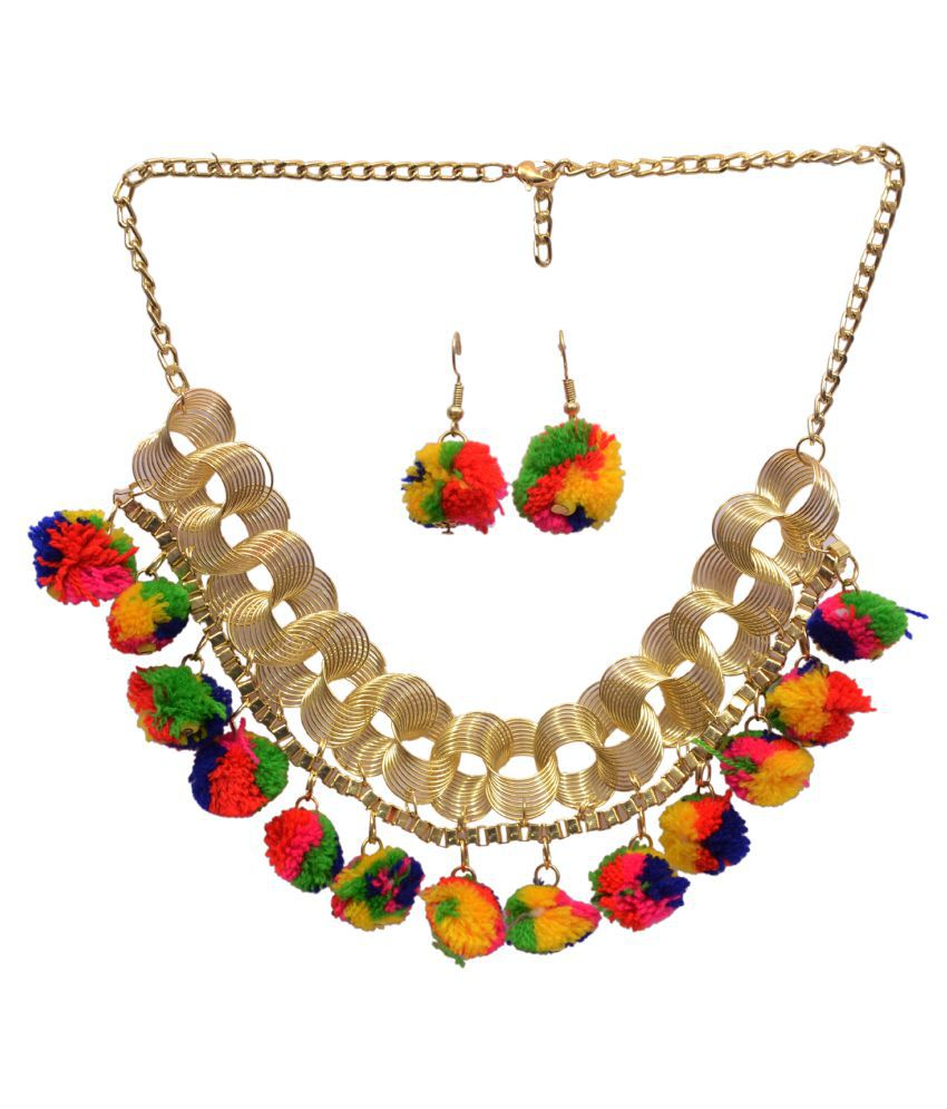 Mansiyaorange Designer  Latest Trendy Pom Pom Multi Color Necklace Set For Girls