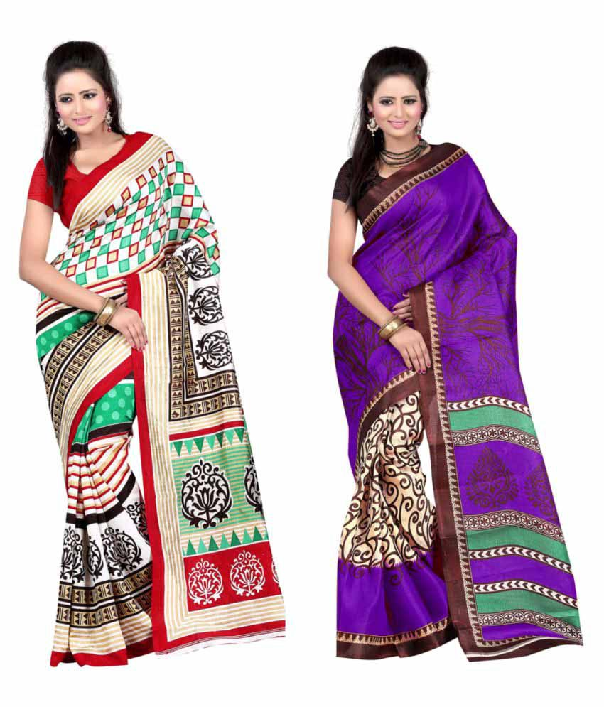 Maskup Fashion Multicoloured Art Silk Saree Combos