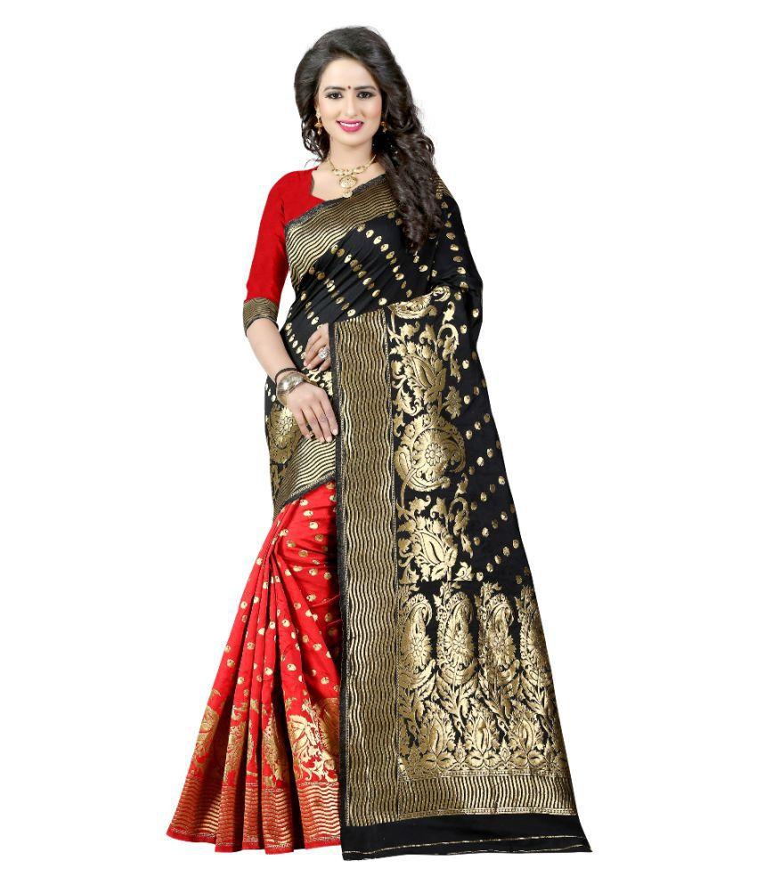 Edeal Online Beige and Black Banarasi Silk Saree