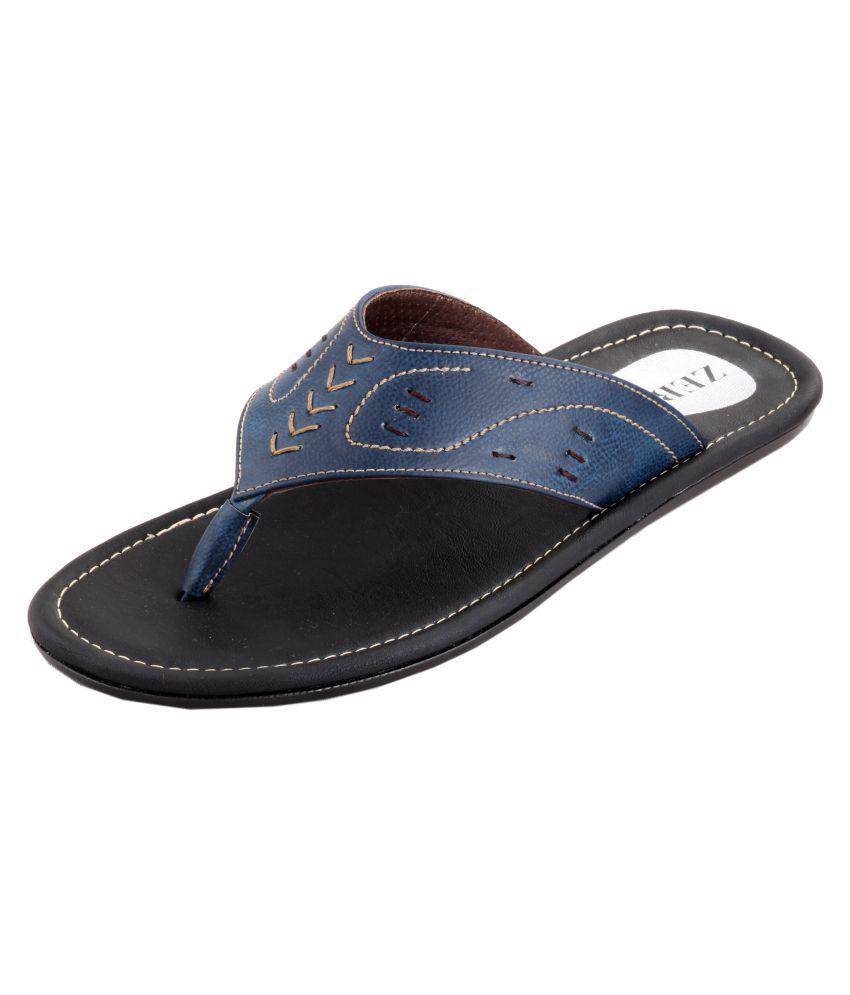 Zebra Blue Leather Slippers Price in