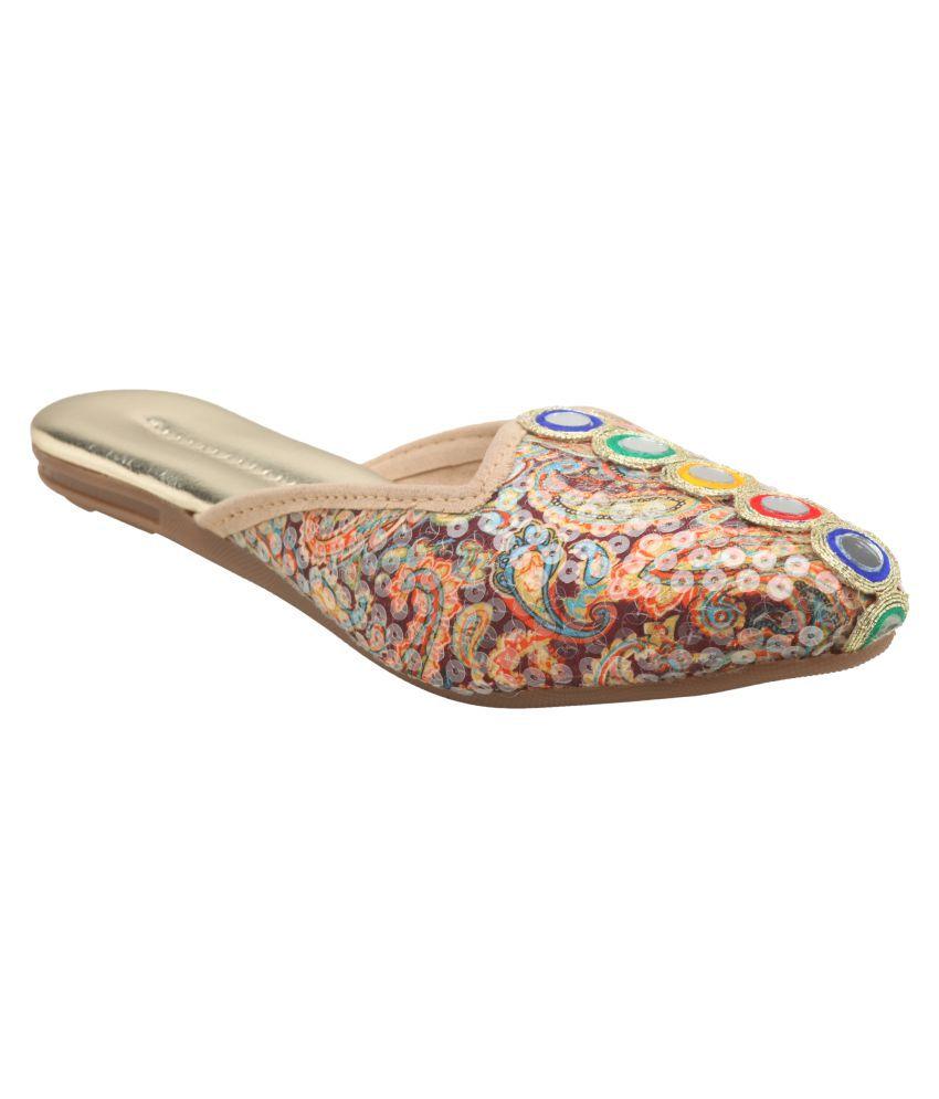 Urban Brand Times Multi Color Flat Ethnic Footwear