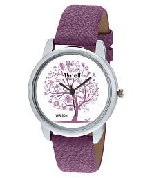 Timelf White Dial Purple Strap Analog Watch - For Women