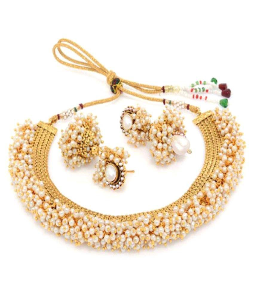 Aabhu Exclusive Gold Plated Pearl Studded Traditional Necklace Set / Jewellery Set with Earrings for Girls and Women