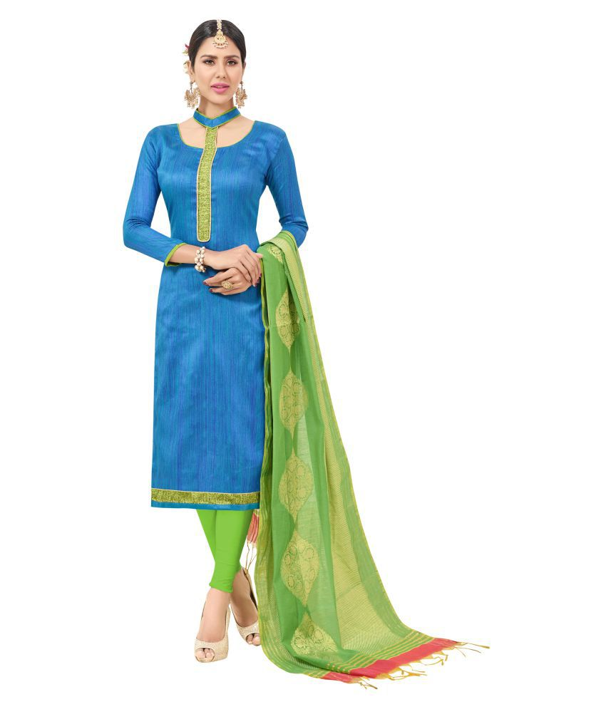 Maroosh Green and Blue Cotton Blend Straight Semi-Stitched Suit