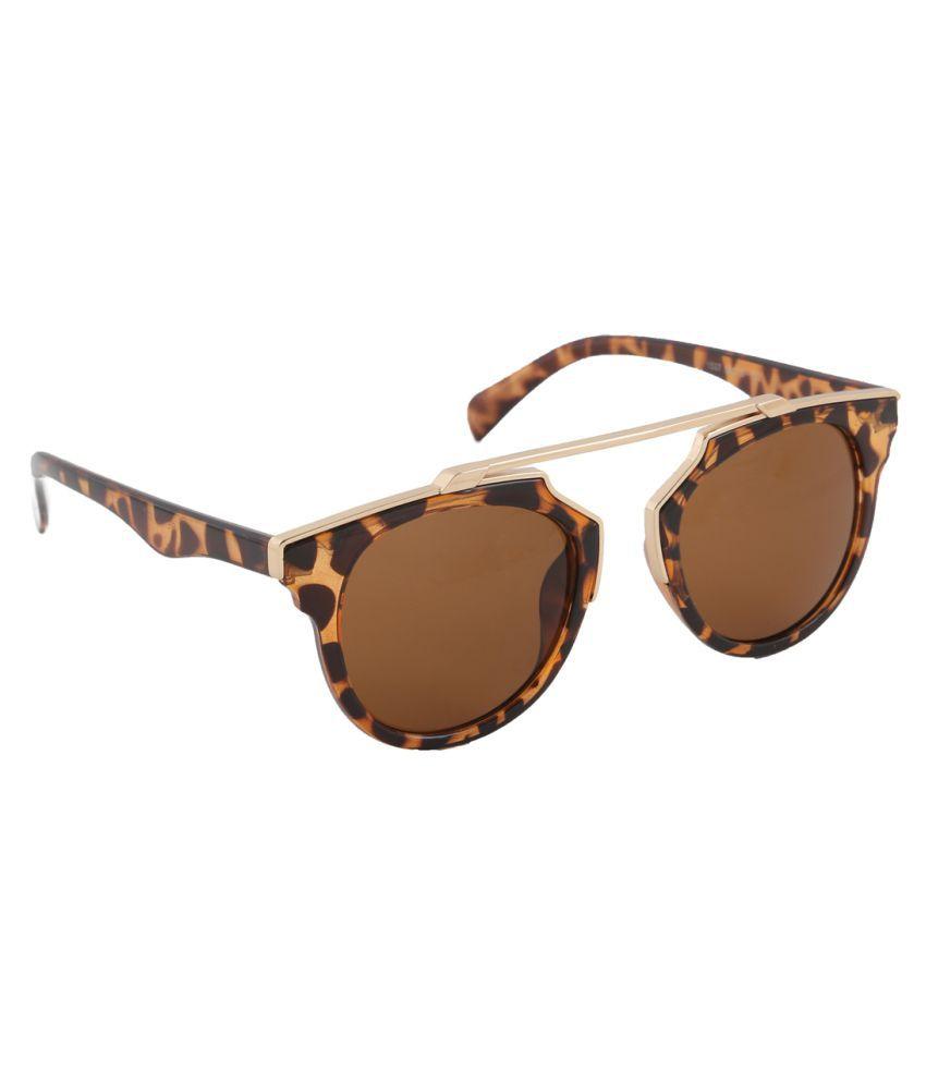 Petrol Brown Round Sunglasses ( P1537BR )