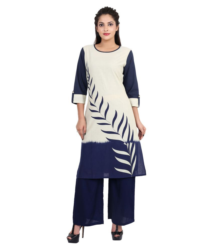 Teej Navy Cotton Straight Kurti
