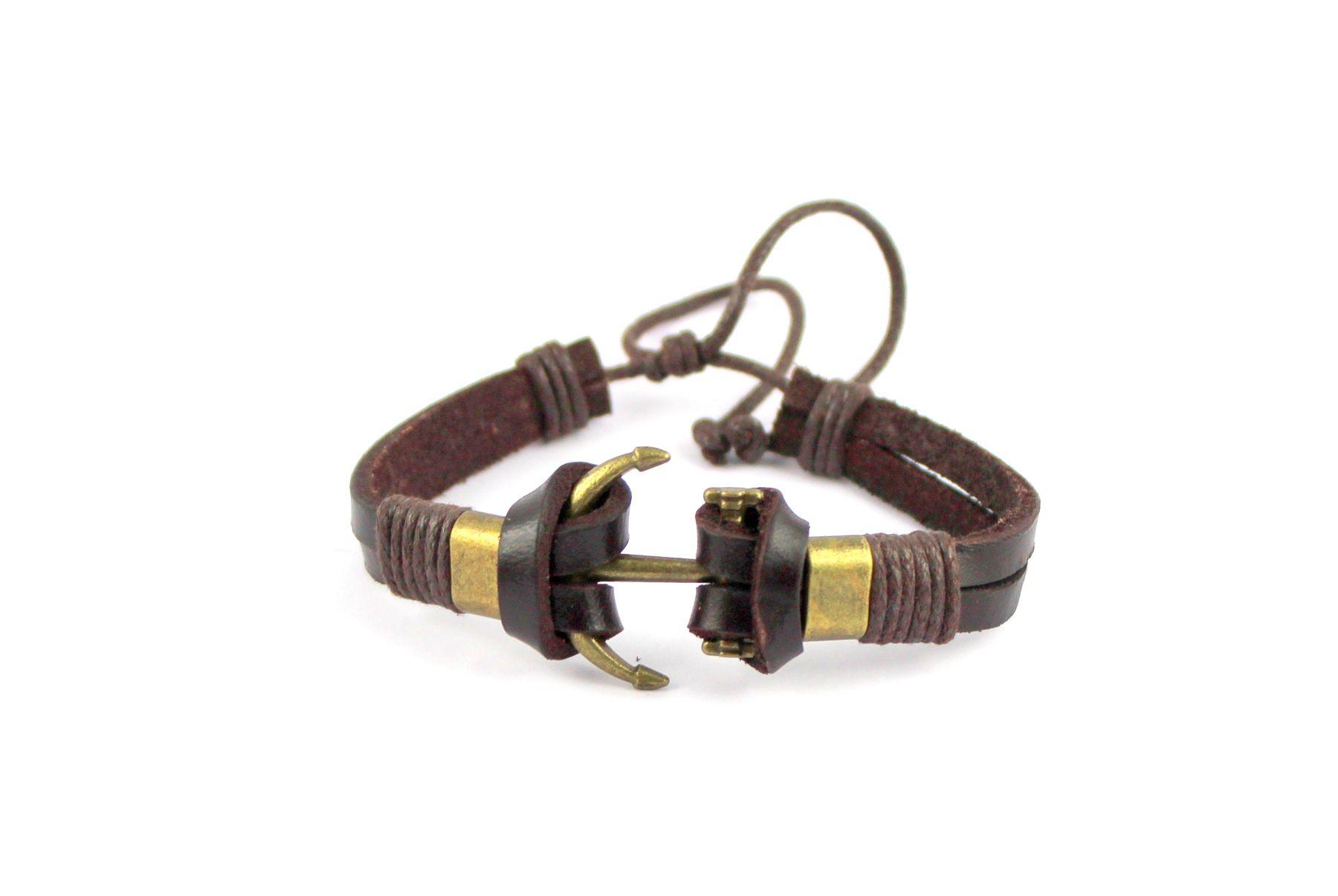 Wise Pebbles Brown Leather Bracelet for Men
