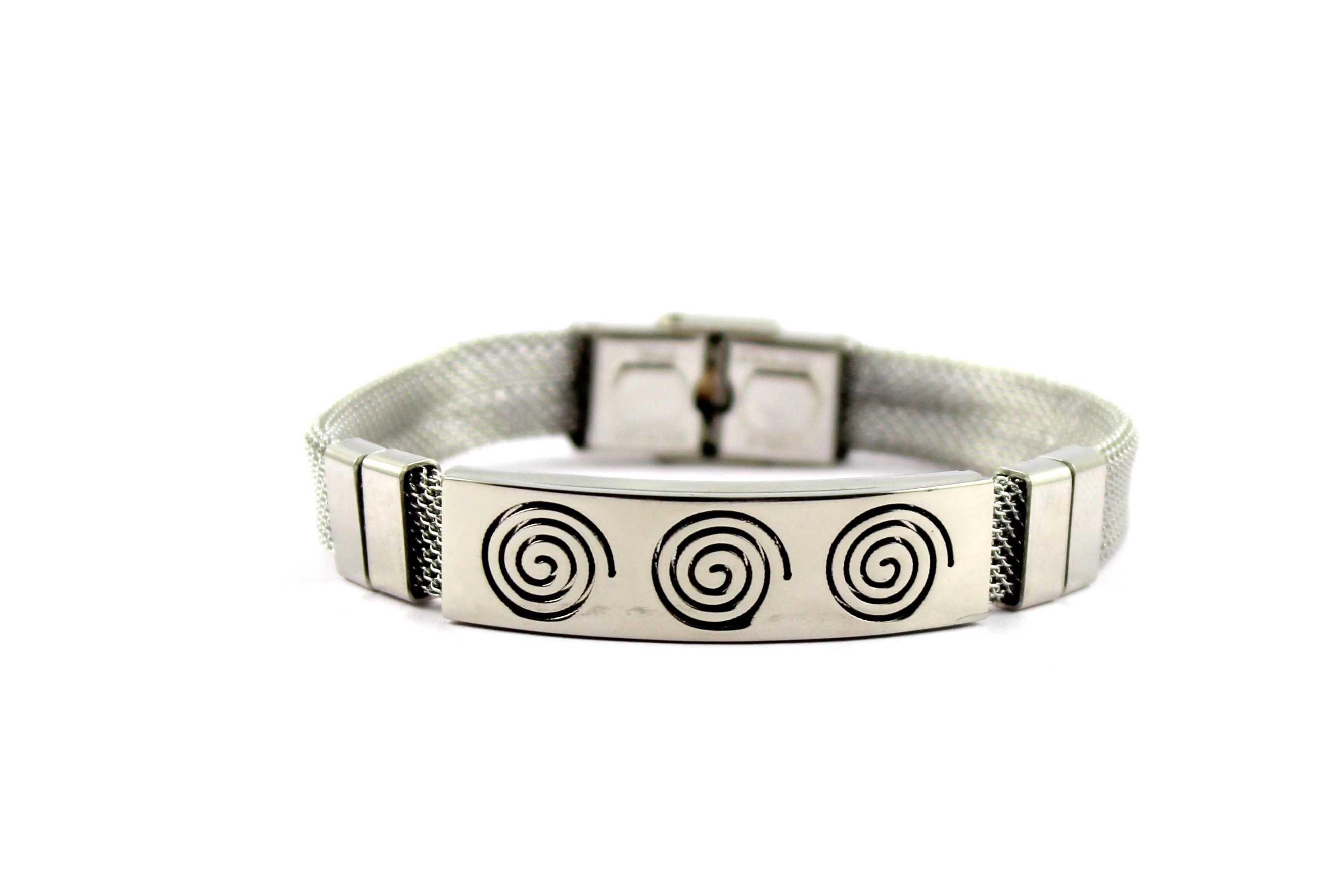 Wise Pebbles Designer Finish Mens Silver Bracelet
