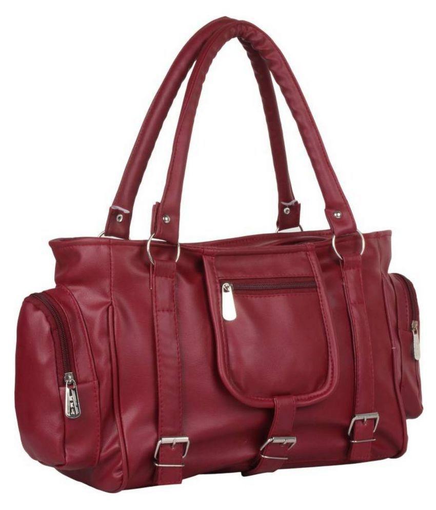 Lambency Maroon P.U. Shoulder Bag