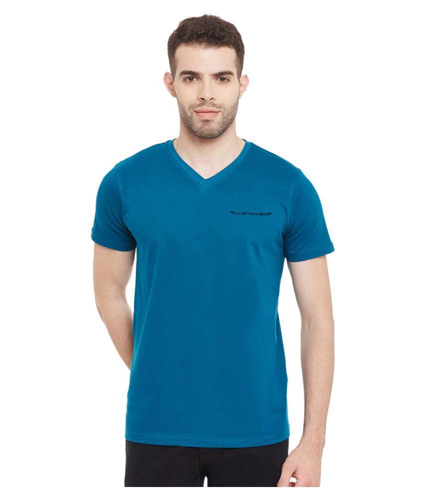 Justanned Blue V-Neck T-Shirt
