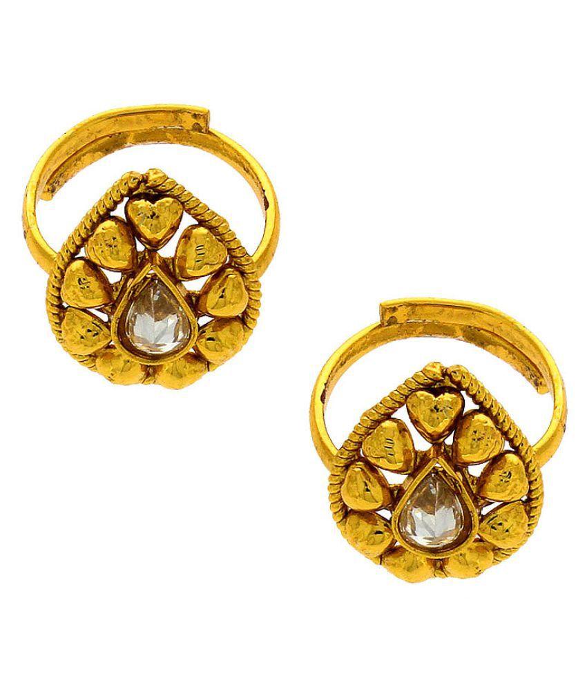 Anuradha Art Golden Drop Shape Designer Toe Ring For Women