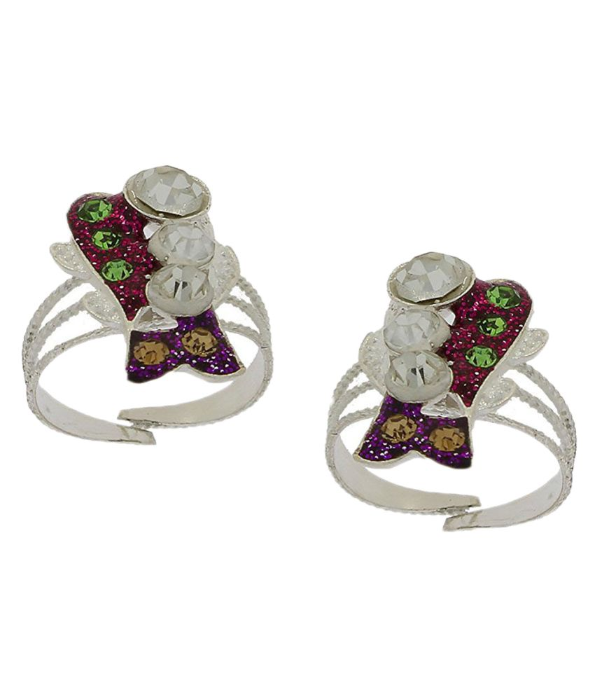 Anuradha Art Silver Finish Designer Classy Red Colour Shimmering Stone Toe Ring For Women