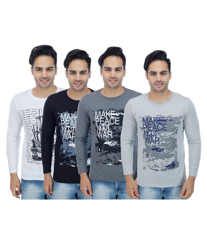 Rakshita's Collection Multi Round T-Shirt Pack of 4