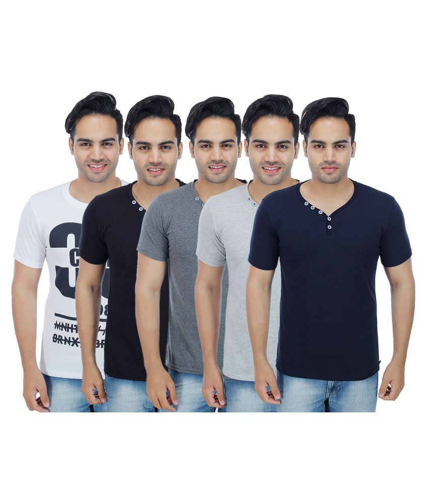 Christy's Collection Multi Henley T-Shirt Pack of 5