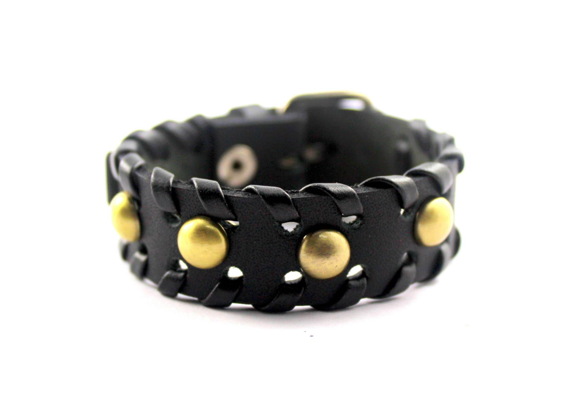 Wise Pebbles Black Leather Wrist Band for Men