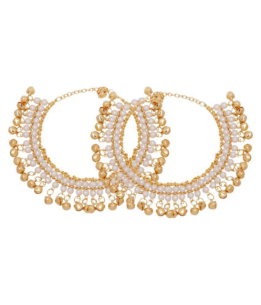 Jewels Gehna Alloy Party Wear & Wedding Latest Designer Anklet Set For Women & Girls