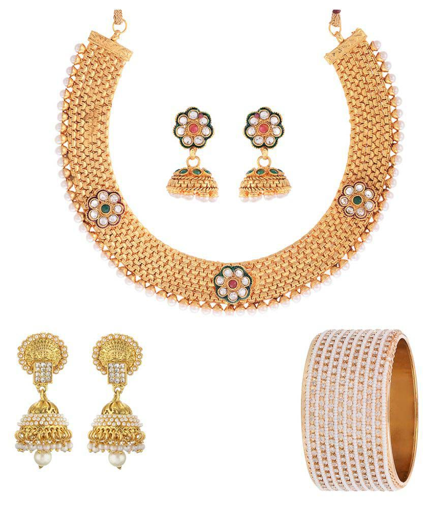Zeneme Beautiful beads studded combo of Necklace and Bangle