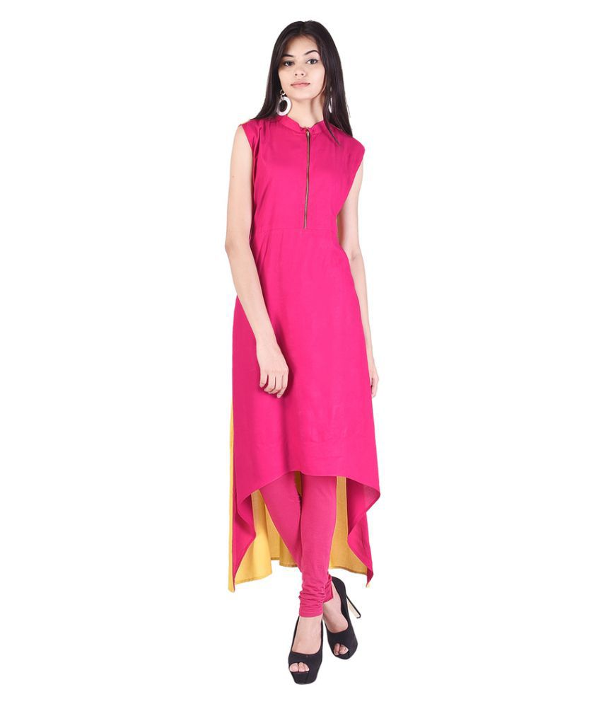 O.J.A. Traders Pink Rayon Asymmetrical Hemline Kurti