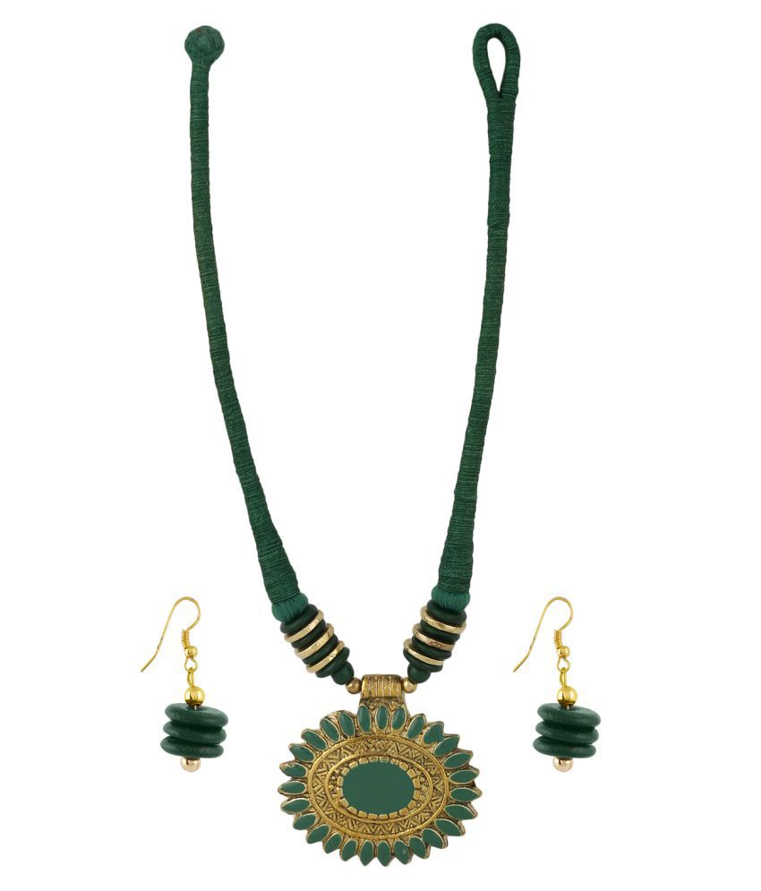 Aradhya Designer Fashion Green thread necklace with antique pendanyt and earrings for Girls